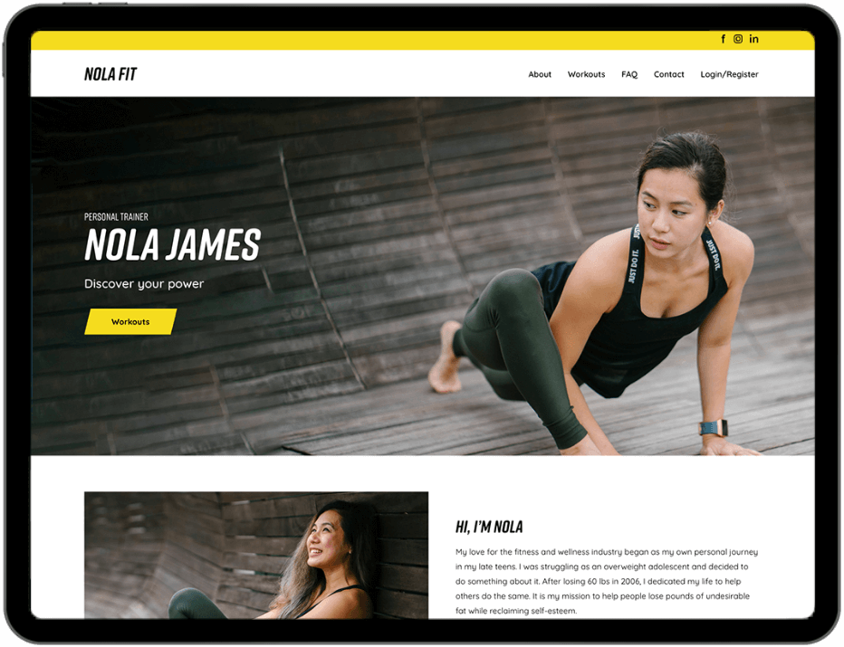 Fitness video streaming on tablet device