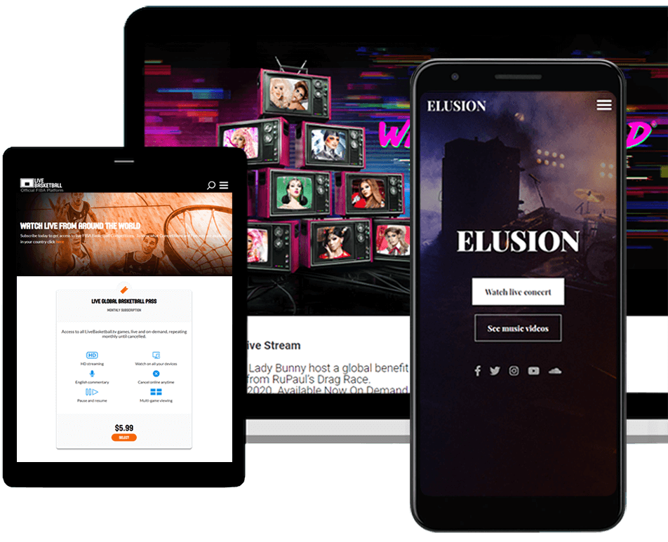 Pay per view and video subscription platform templates on desktop, mobile, and tablet devices
