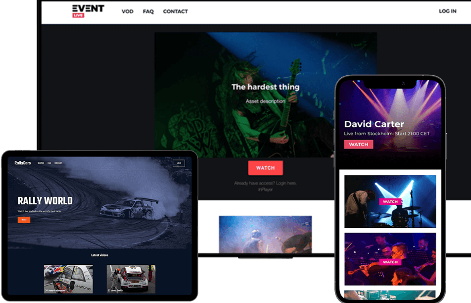 Live event streaming and virtual ticketing websites on desktop, tablet and mobile devices
